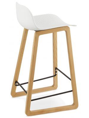 24Designs Barkruk Lory - Zithoogte 67 cm - Kunststof Wit - Houten Poten