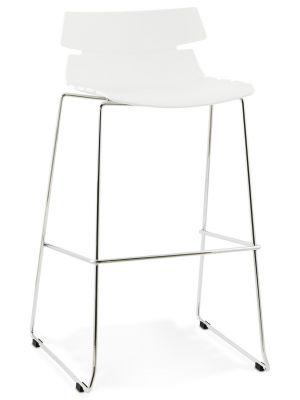 24Designs Barkruk Feline - Zithoogte 77 cm - Kunststof Wit - Chroom