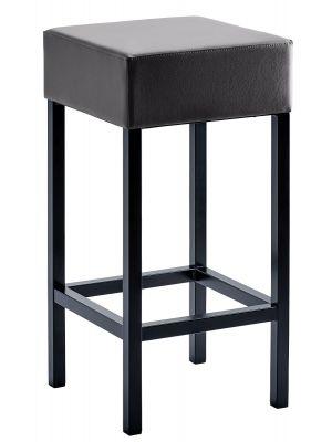 24Designs Barkruk Russel - Zithoogte 64 cm - Zwart Kunstleer - Zwart Onderstel