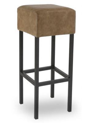 24Designs Barkruk Thomas - Zithoogte 82 cm - Vintage Bruine Zitting - Zwart Metalen Onderstel