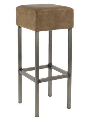 24Designs Barkruk Thomas - Zithoogte 82 cm - Vintage Bruine Zitting - Metalen Onderstel
