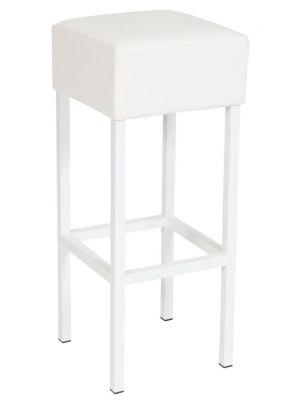 24Designs Barkruk Thomas - Zithoogte 82 cm - Witte Zitting - Wit Metalen Onderstel