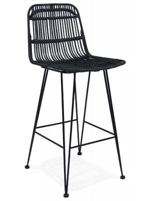 24Designs Barkruk Vallarta - Zithoogte 65 cm - Zwarte Rotan Zitting - Zwart Metalen Onderstel