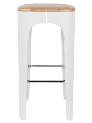 24Designs Barkruk UP-HIGH - Zithoogte 73 cm - Houten Zitting - Wit