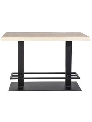 24Designs Luke Countertafel - 140x80x94 - Tafelblad Eikenhout - Zwart Metalen Onderstel