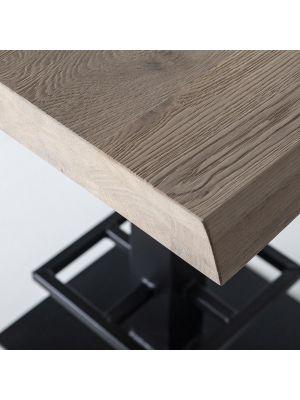 24Designs Luke Countertafel - 80x80x94 - Tafelblad Zwart Eiken - Zwart Metalen Onderstel