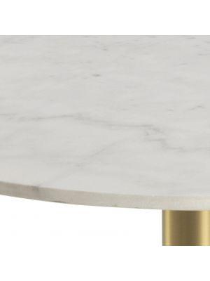 24Designs Bellino Grote Ronde Salontafel - Diameter 90 cm - Wit Marmer - Geborsteld Messing