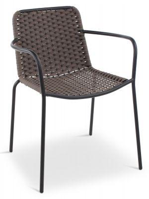 24Designs Bibi Tuin & Terrasstoel - Set van 4 - Textileen Taupe - Antraciet Metalen Frame