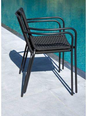 24Designs Bibi Tuin & Terrasstoel - Set van 4 - Textileen Zwart - Zwart Metalen Frame