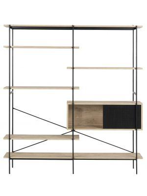 24Designs Wandkast Billund - 172x27x188 - Eiken Decor - Metalen Frame