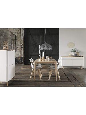24Designs Grindsted Dressoir 2 Deurs/1 Lade - B140 x D45 x H76 cm - Wit - Eiken White Wash