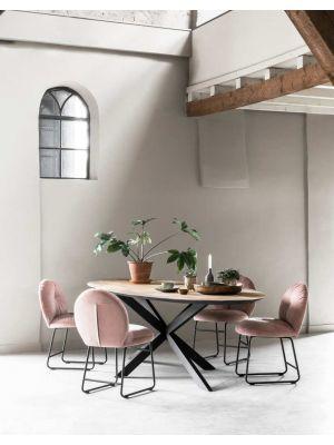 24Designs Bouton Stoel - Set van 2 - Fluweel Roze - Zwart Metalen Sledeframe