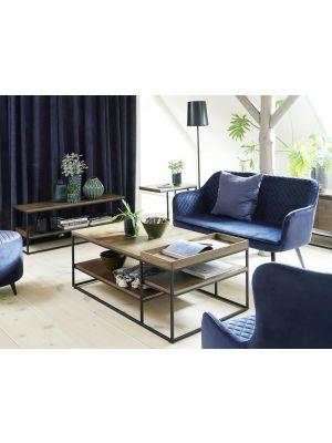 24Designs Bridget Loveseat - B129 x D71 x H81 cm - Blauw Fluweel - Zwart Metalen Poten
