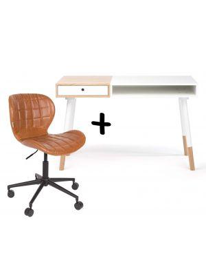 24Designs Bureau Sunshine Mat Wit - Inclusief OMG Bureaustoel Bruin