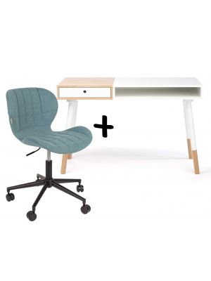 24Designs Bureau Sunshine Mat Wit - Inclusief OMG Bureaustoel Blauw