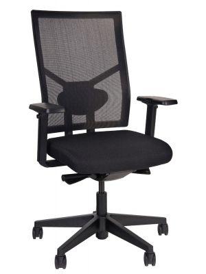24Designs Brisbane Ergonomische Bureaustoel EN1335 - Stof/Mesh Zwart - Zwart Onderstel