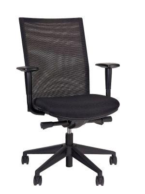 24Designs Dallas Economy Bureaustoel EN1335 - Stof/Mesh Zwart - Zwart Onderstel
