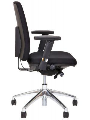 24Designs Newport Ergonomische Bureaustoel EN1335 - Stof Zwart -  Aluminium Onderstel
