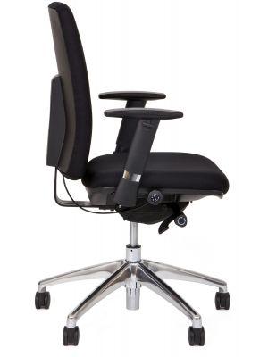 24Designs Virginia Ergonomische Bureaustoel EN1335 - Stof Zwart - Aluminium Onderstel