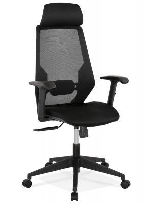 24Designs Arrow Bureaustoel - Mesh Rugleuning - Zwarte Stoffen Zitting - Zwart Kunststof Onderstel