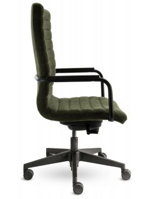 24Designs Bergamo Bureaustoel - Stof Groen - Zwarte Kunststof Kruispoot
