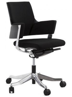 24Designs Taranto Bureaustoel - Stof Zwart - Verchroomd Metalen Onderstel