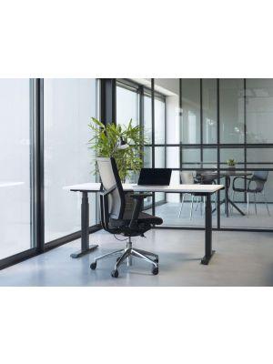 24Designs Calgary Ergonomische Bureaustoel EN1335 - Stof Zwart - Aluminium onderstel