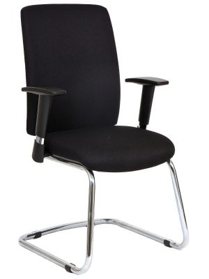24Designs Liverpool Vergaderstoel en Bureaustoel - Stof Zwart - Chromen Sledeframe