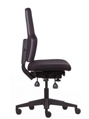 24Designs Preston Bureaustoel zonder Armleuningen EN1335 - Stof Zwart - Zwart Onderstel