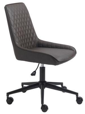 24Designs Carter Bureaustoel - Donkerbruin Kunstleer - Zwarte Kruispoot op wielen
