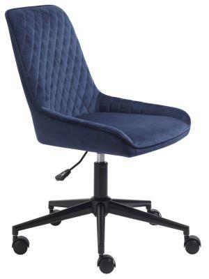 24Designs Carter Bureaustoel Velvet - Fluweel Blauw - Zwarte Kruispoot op wielen