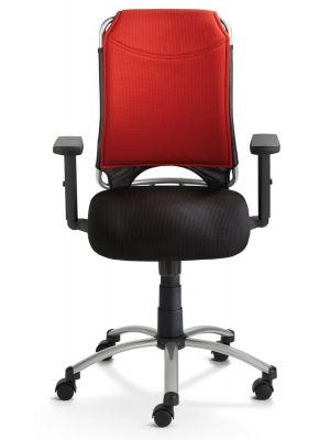 24Designs Bureaustoel Chicago - Rood/Zwart - Zilverkleurige Metalen Kruispoot