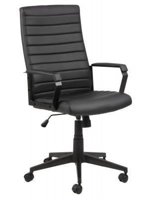 24Designs Derby Bureaustoel - Zwart Kunstleer - Zwart Onderstel met Wielen