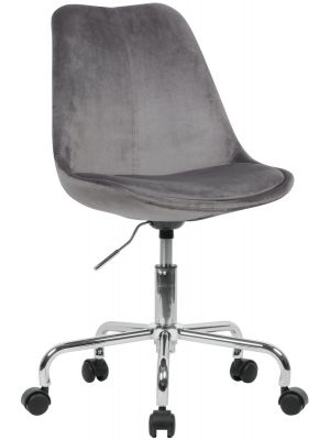 24Designs Bureaustoel Dex Office Velvet - Kuipzitting Fluweel Grijs - Kruispoot op wielen