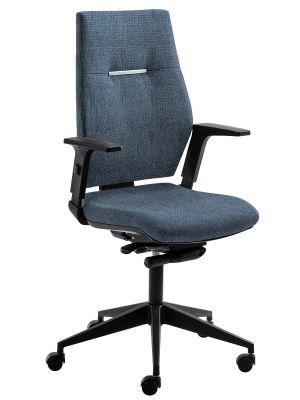 24Designs Bureaustoel Dublin - Stof Jeansblauw Gemêleerd - Zwarte Kruispoot