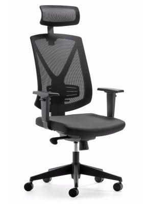 24Designs Bureaustoel Ergo - Hoofdsteun - Stof Zwart - Zwarte Kruispoot