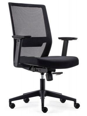24Designs First ECO-2 Bureaustoel - Zwarte Stof/Mesh - Zwarte Kruispoot met Wielen