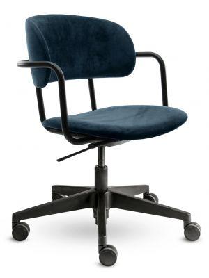 24Designs Homework Velvet Bureaustoel - Fluweel Blauw - Zwarte Kunststof Kruispoot