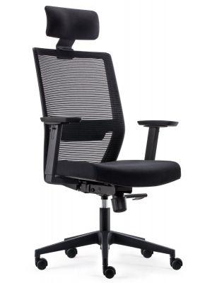 24Designs First ECO-2 Bureaustoel Hoofdsteun - Zwarte Stof/Mesh - Zwarte Kruispoot met Wielen