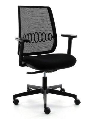 24Designs James Home Office Bureaustoel - Zwart Mesh/Stof - Zwarte Kunststof Kruispoot
