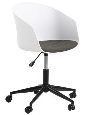 24Designs Jonna Bureaustoel - Wit Kunststof + Grijs Zitkussen - Zwarte Kruispoot met Wielen
