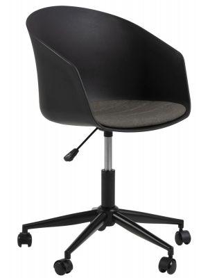 24Designs Jonna Bureaustoel - Zwart Kunststof + Grijs Zitkussen - Zwarte Kruispoot met Wielen