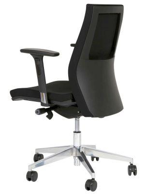 24Designs Lucca Bureaustoel - Stof Zwart - 5-teens Kruispoot Aluminium