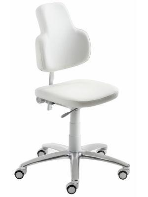 24Designs Bureaustoel Maxime Medline - Wit Kunstleer/Lichtgrijs Kunststof - Aluminium Kruispoot