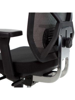 24Designs Bureaustoel Monaco NPR 1813 - Zwart Rugframe/Zwarte Zitting - Aluminium Kruispoot