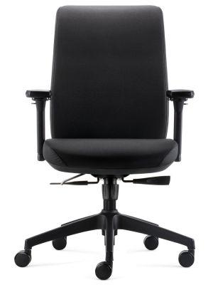 24Designs Move ERGO-4 Ergonomische Bureaustoel EN1335 - Zwarte Stof - Zwart Onderstel