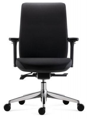 24Designs Move SYNCHRO-4 Ergonomische Bureaustoel - Zwarte Stof - Chromen Onderstel