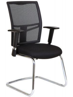 24Designs Norwich Bureaustoel en Vergaderstoel - Stof/Mesh Zwart - Chromen Sledeframe
