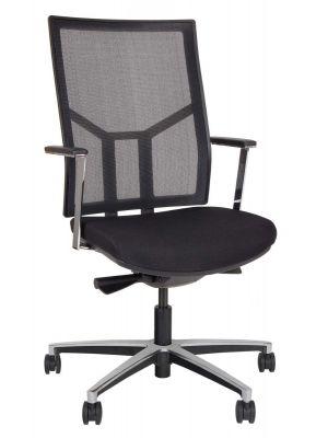24Designs Oxford Office Bureaustoel - Stof/Mesh Zwart - Aluminium Onderstel