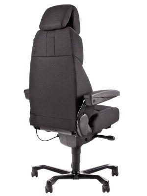 24Designs Pro-Brighton 24-uurs Bureaustoel - Stof Zwart - Aluminium Onderstel
